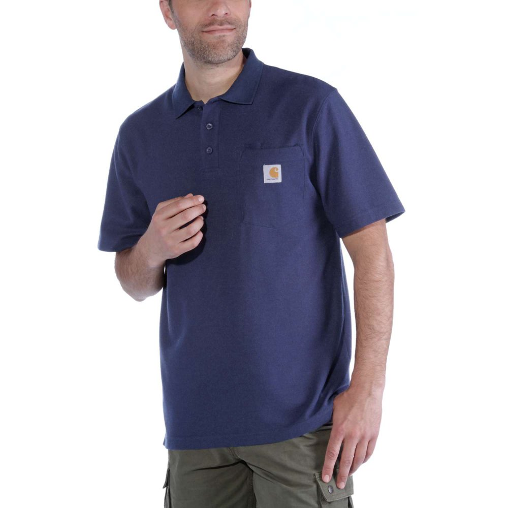 Carhartt Work Pocket Polo S/S Deep Blue Indigo XL