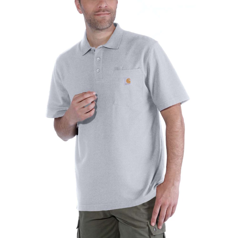 Carhartt Work Pocket Polo S/S Heather Grey Large