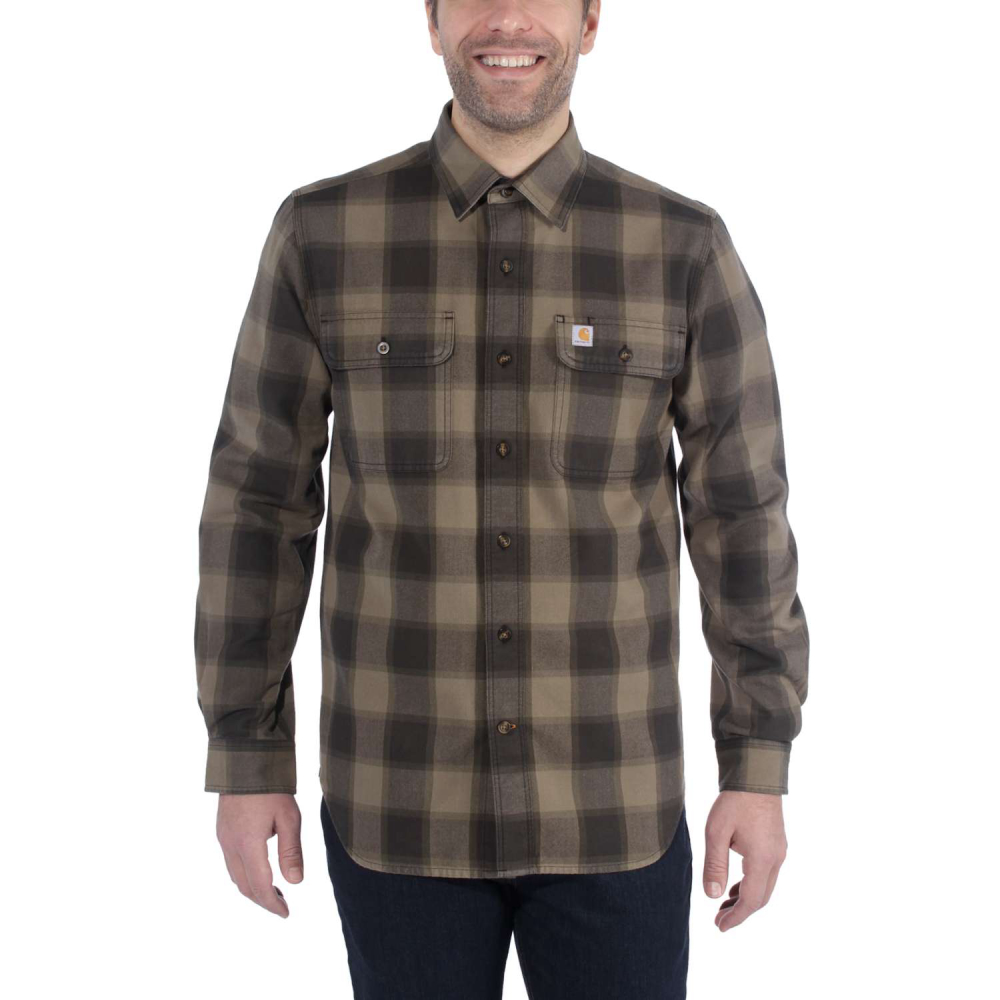 Carhartt Hubbard Slim Fit Flannel Shirt Burnt Olive Small