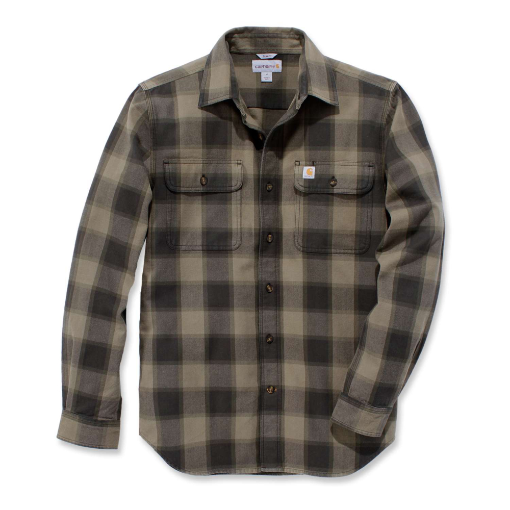 Carhartt Hubbard Slim Fit Flannel Shirt Burnt Olive Large