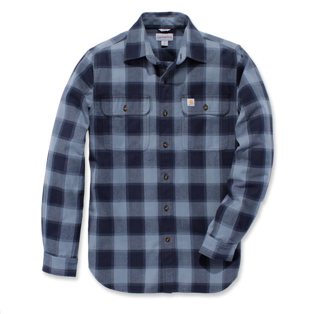 Carhartt Hubbard Slim Fit Flannel Shirt Steel Blue Small