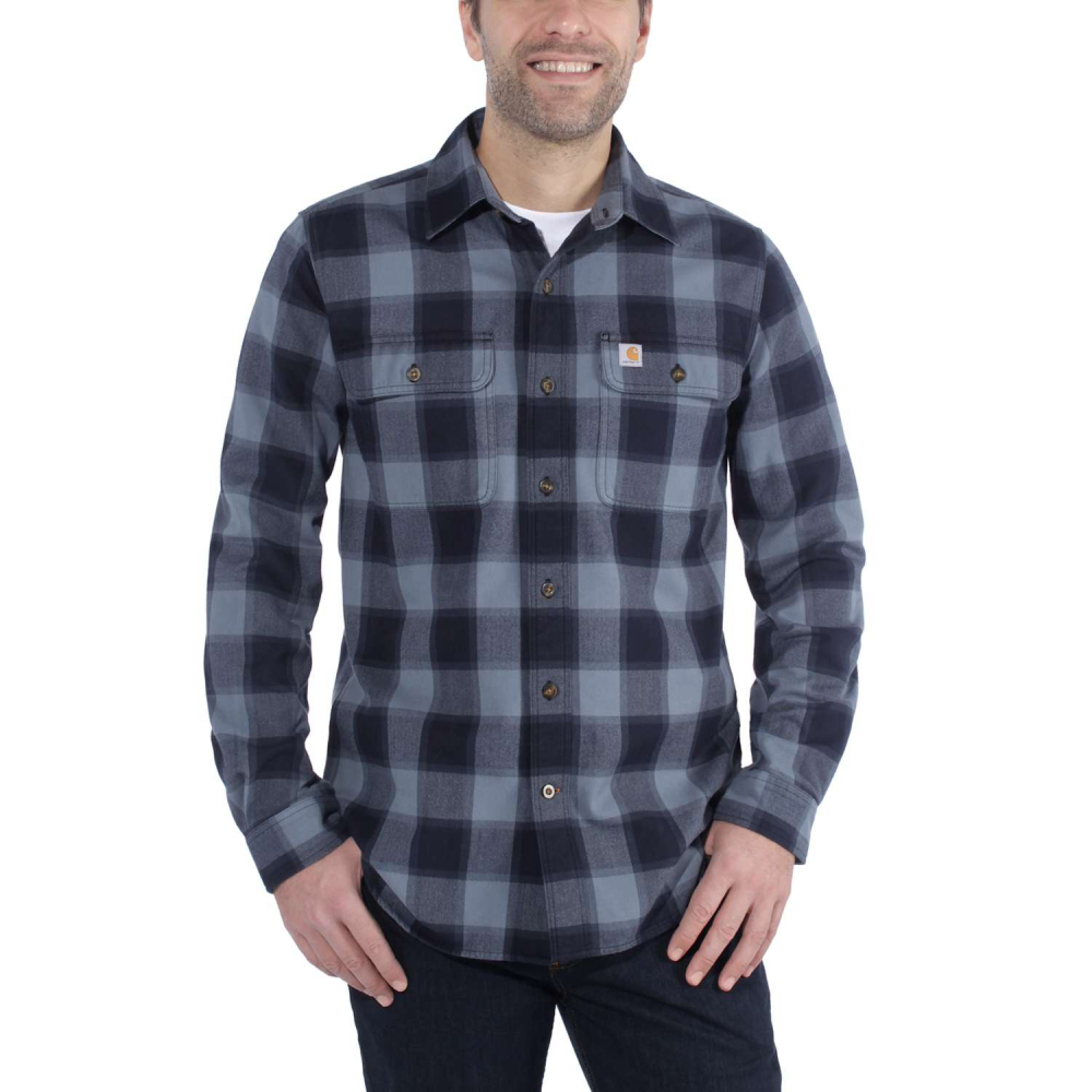 Carhartt Hubbard Slim Fit Flannel Shirt Steel Blue Large