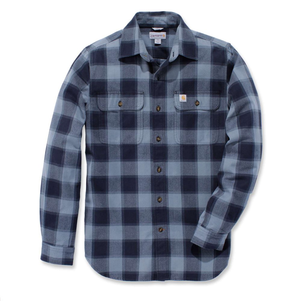 Carhartt Hubbard Slim Fit Flannel Shirt Steel Blue XXL