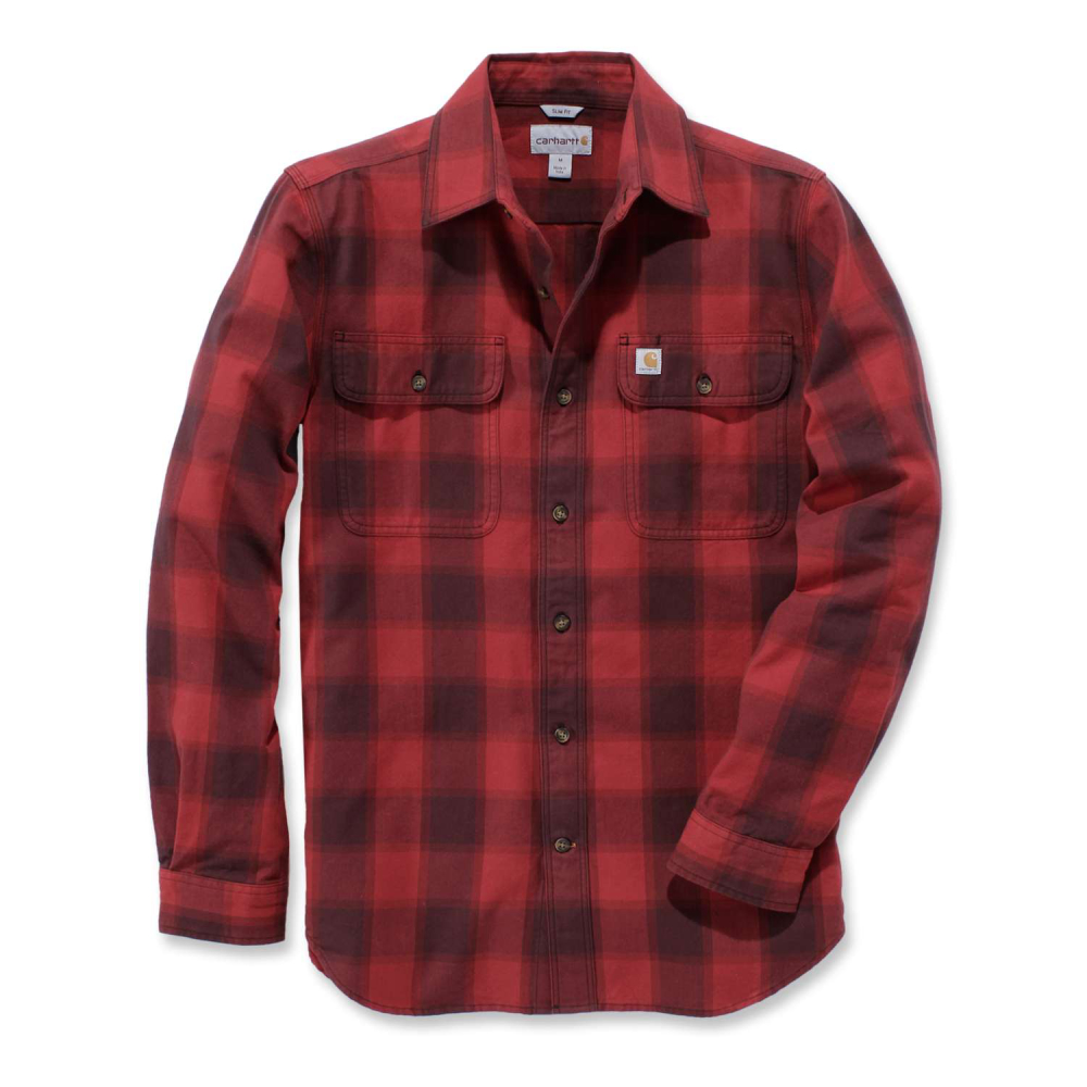 Carhartt Hubbard Slim Fit Flannel Shirt Dark Crimson Small