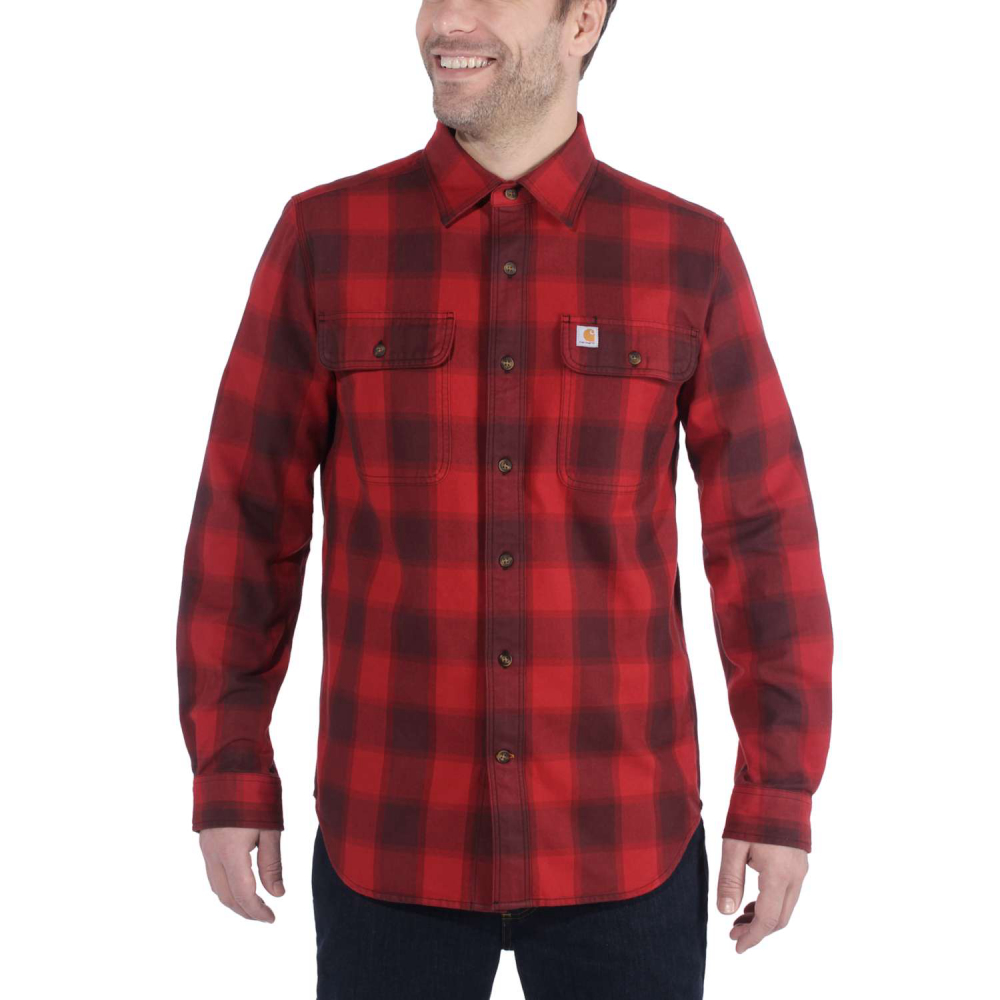 Carhartt Hubbard Slim Fit Flannel Shirt Dark Crimson Medium
