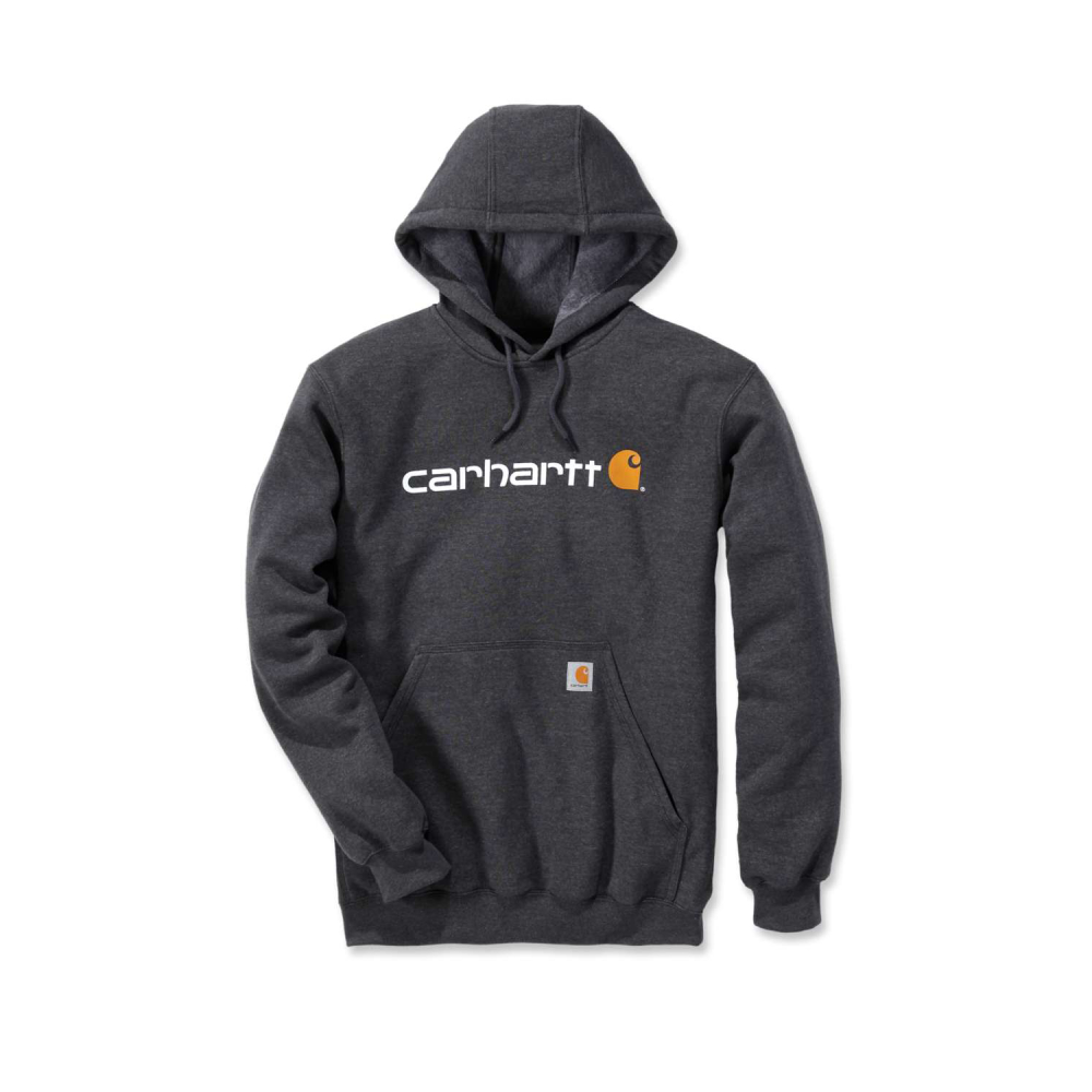 Carhartt Signature Logo Hooded Sweatshirt Carbon Heather Small