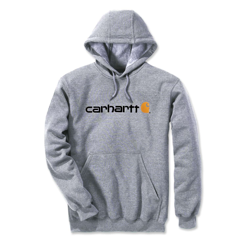 Carhartt Signature Logo Hooded Sweatshirt Heather Grey XL