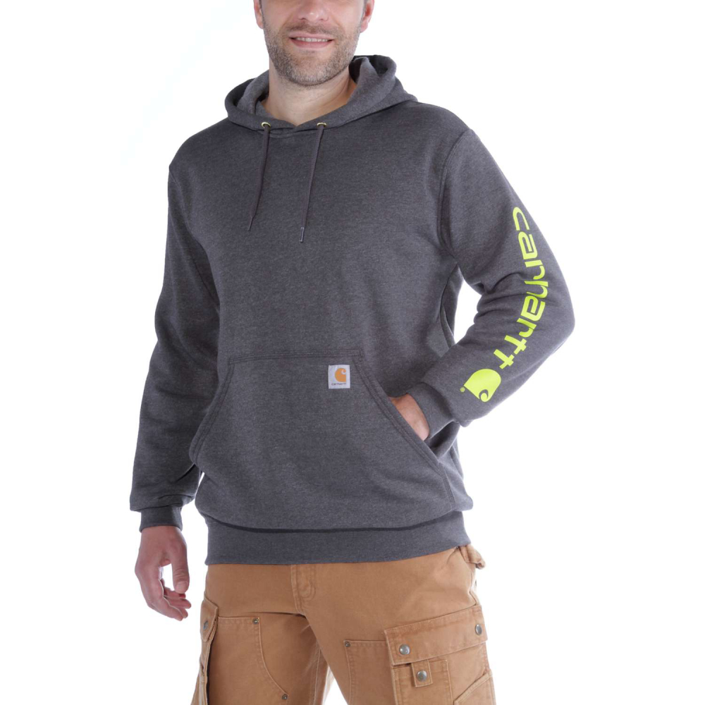 Carhartt Sleeve Logo Hooded Sweatshirt Carbon Heather Large
