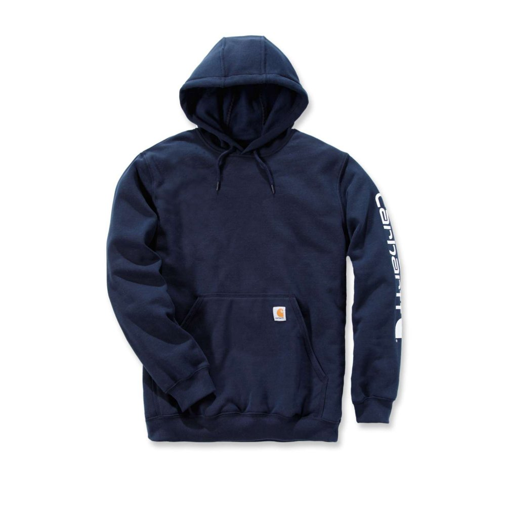 Carhartt Sleeve Logo Hooded Sweatshirt New Navy Small