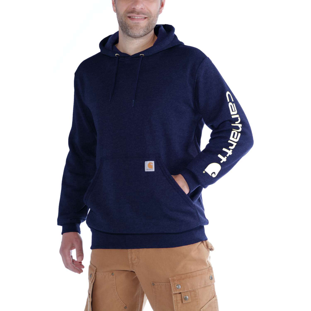 Carhartt Sleeve Logo Hooded Sweatshirt New Navy Medium
