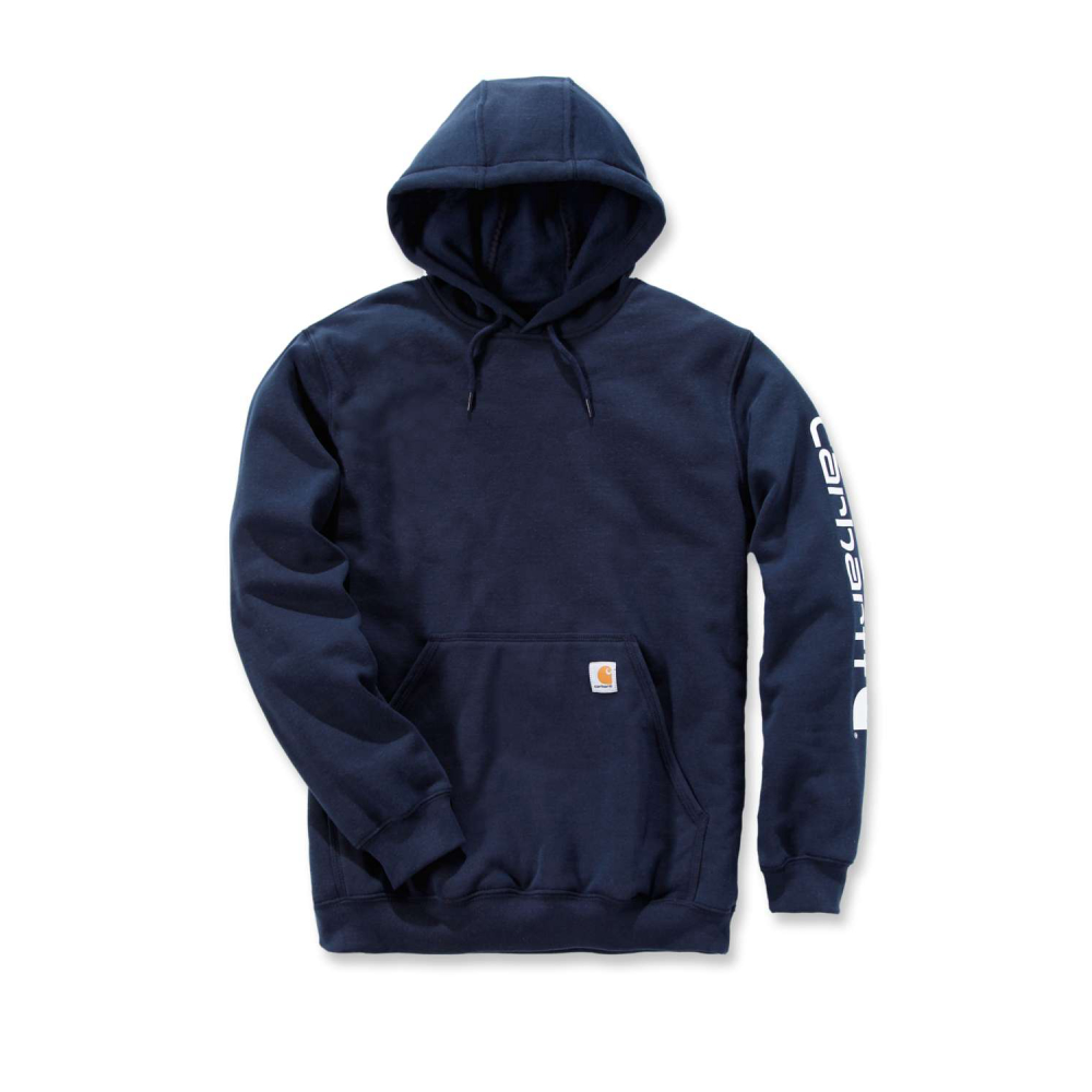 Carhartt Sleeve Logo Hooded Sweatshirt New Navy Large