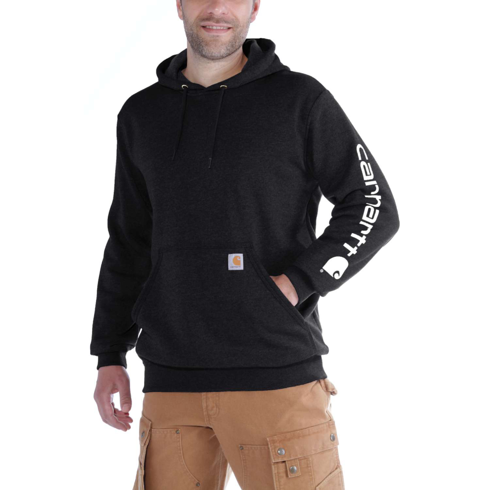Carhartt Sleeve Logo Hooded Sweatshirt Svart Small