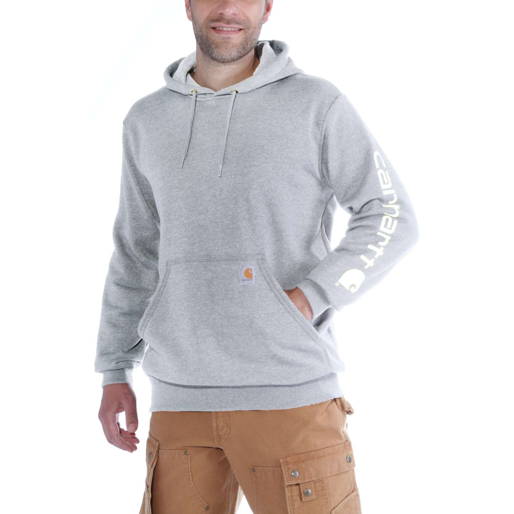 Carhartt Sleeve Logo Hooded Sweatshirt Heather Grey Small