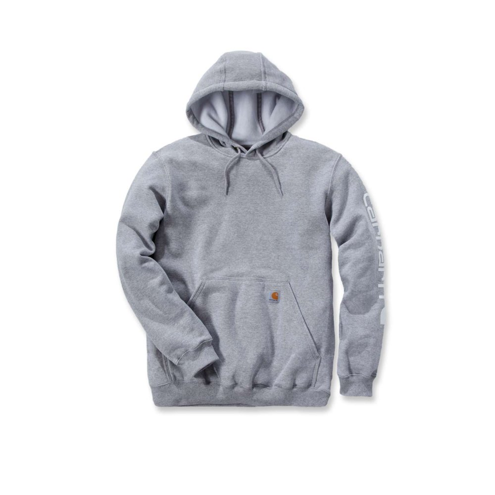Carhartt Sleeve Logo Hooded Sweatshirt Heather Grey Medium