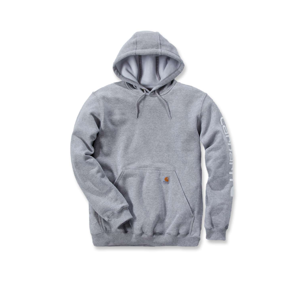 Carhartt Sleeve Logo Hooded Sweatshirt Heather Grey Large