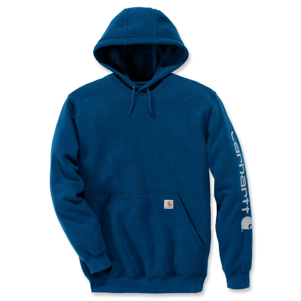 Carhartt Sleeve Logo Hooded Sweatshirt Bold Blue Heather Large