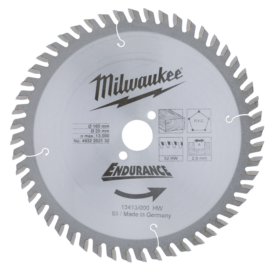 Milwaukee Endurance PVC/Trä 165x20x2,8mm 52T