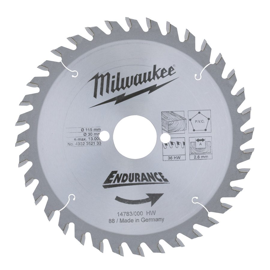 Milwaukee Endurance PVC/Trä 165x30x2,6mm 36T