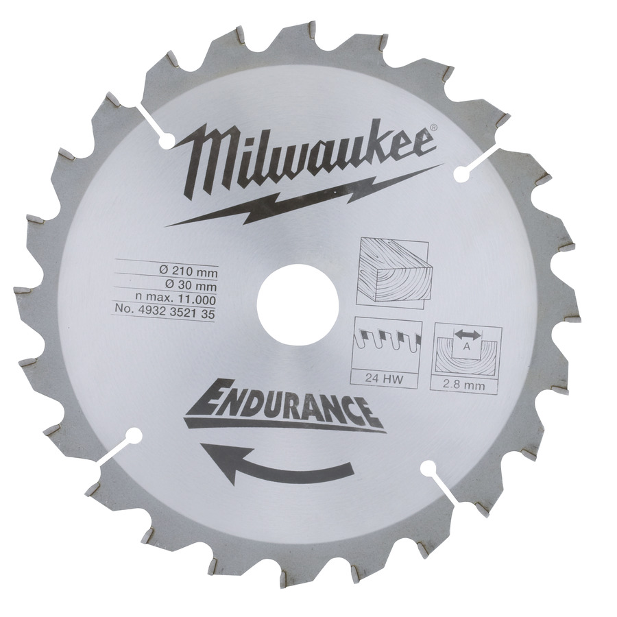 Milwaukee Endurance Trä 210x30x2,8mm 24T