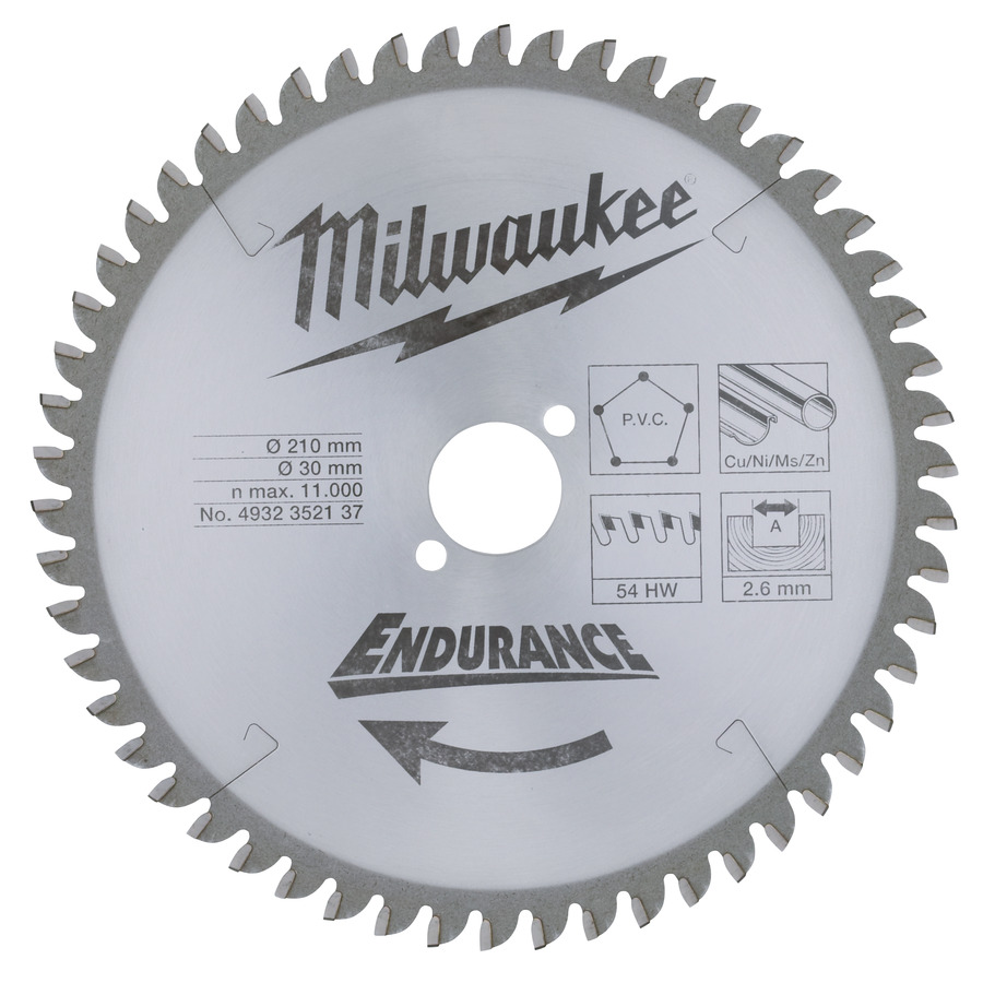 Milwaukee Endurance Plast/Metall 210x30x2,6 54T