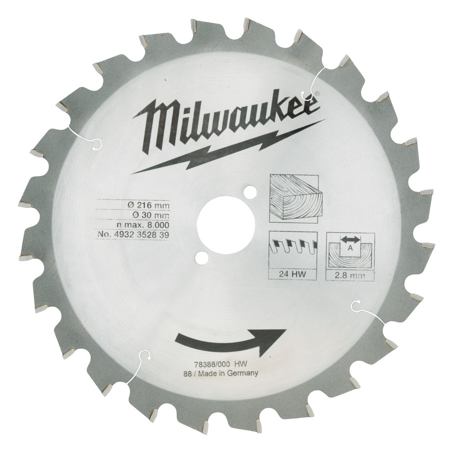 Milwaukee Trä 216x30x2,8mm 24T