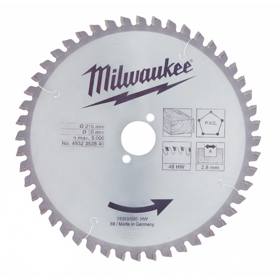 Milwaukee Trä/PVC 216x30x2,8mm 48T