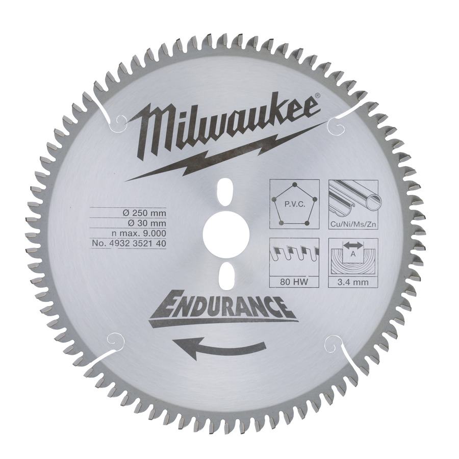 Milwaukee Endurance PVC/Metall 250x303,4mm 80T