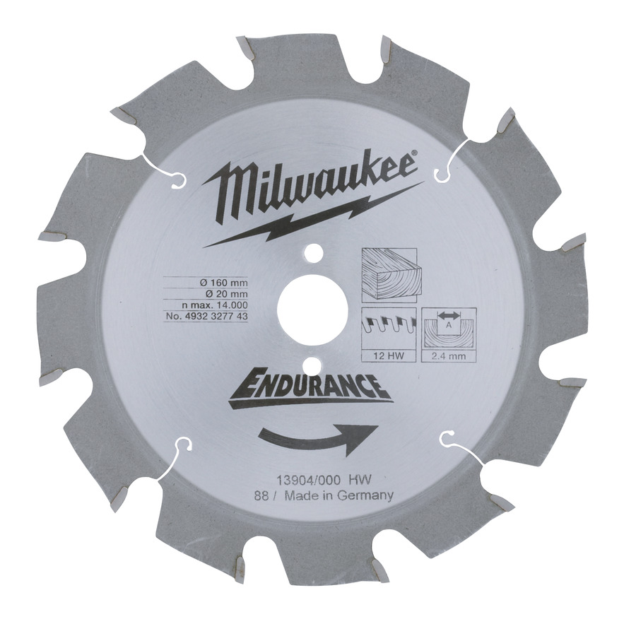 Milwaukee Endurance Trä 160x20mm 12T