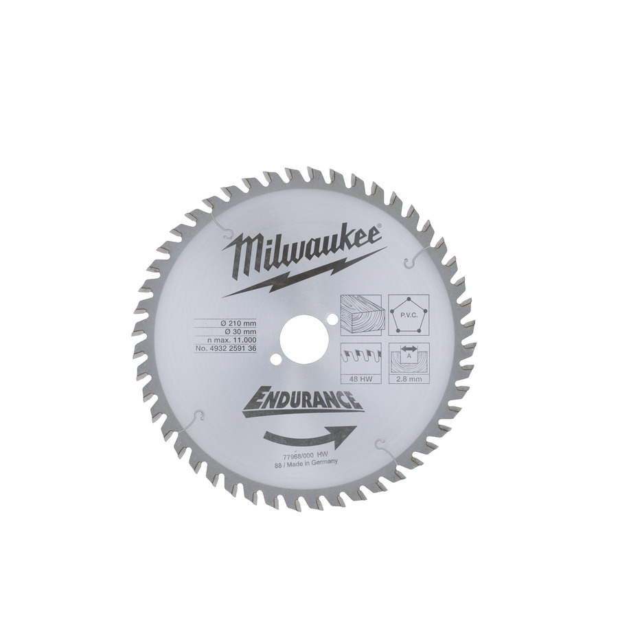 Milwaukee Endurance PVC/Trä 210x30mm 48T