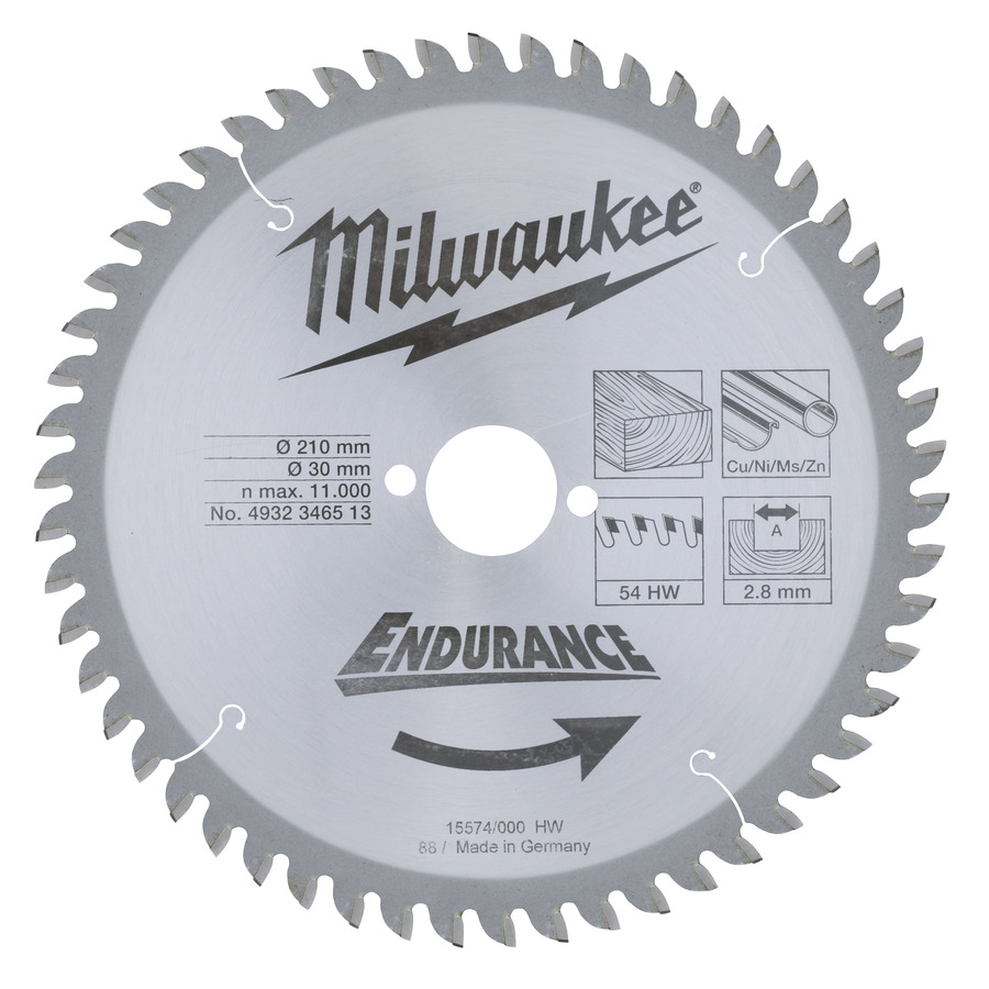Milwaukee Endurance Trä/Metall 210x30mm 54T