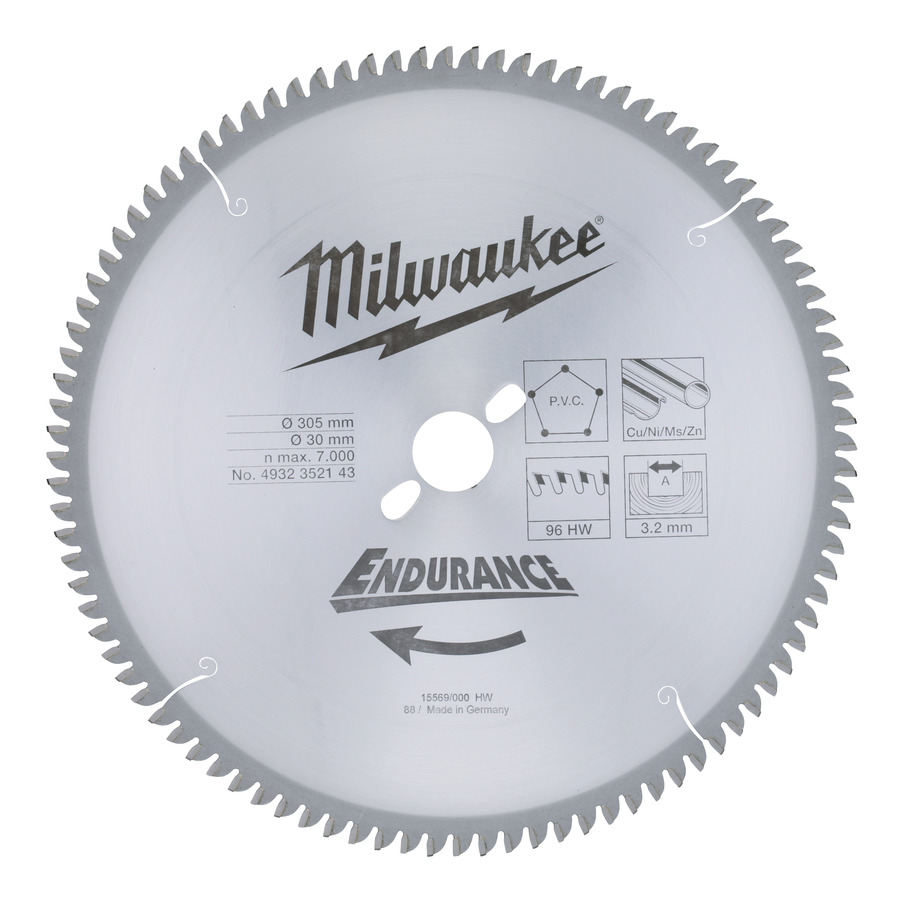 Milwaukee Endurance PVC/Metall 305x30x3,2mm 96T