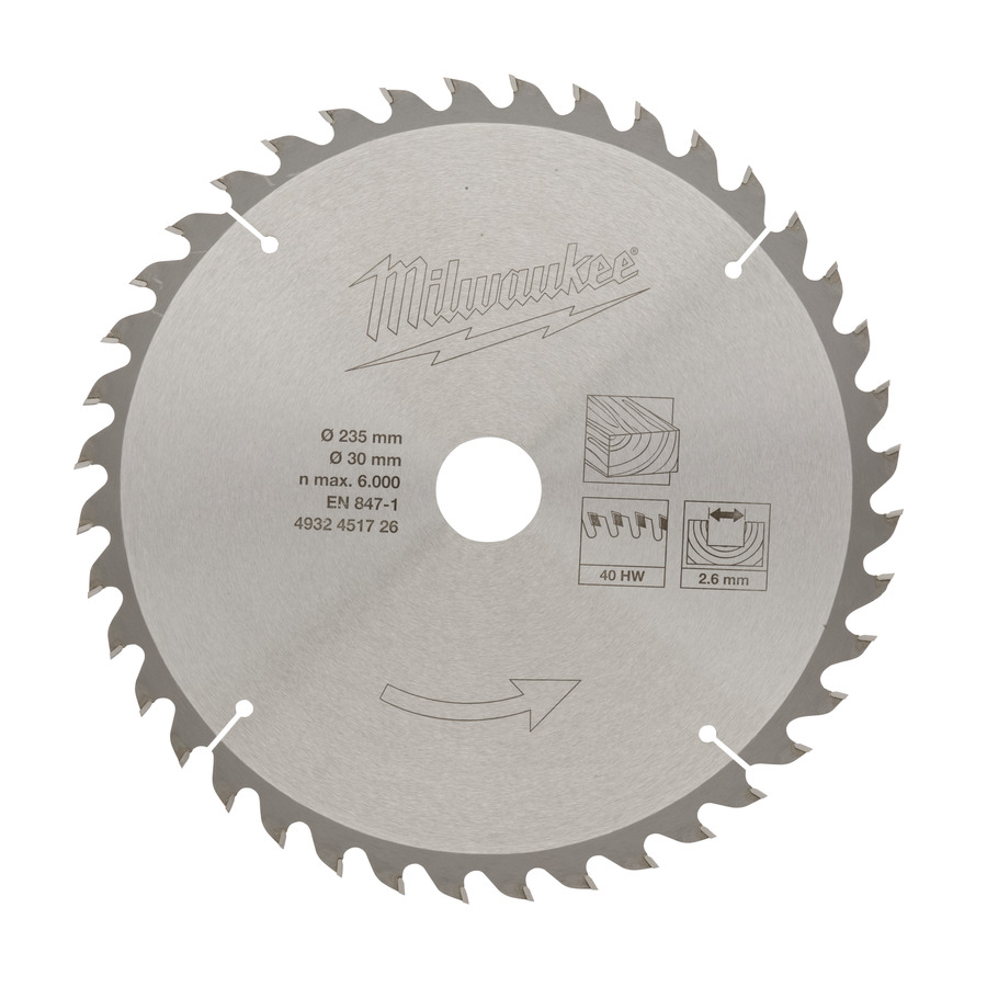 Milwaukee Klinga 235x30mm 40T Trä