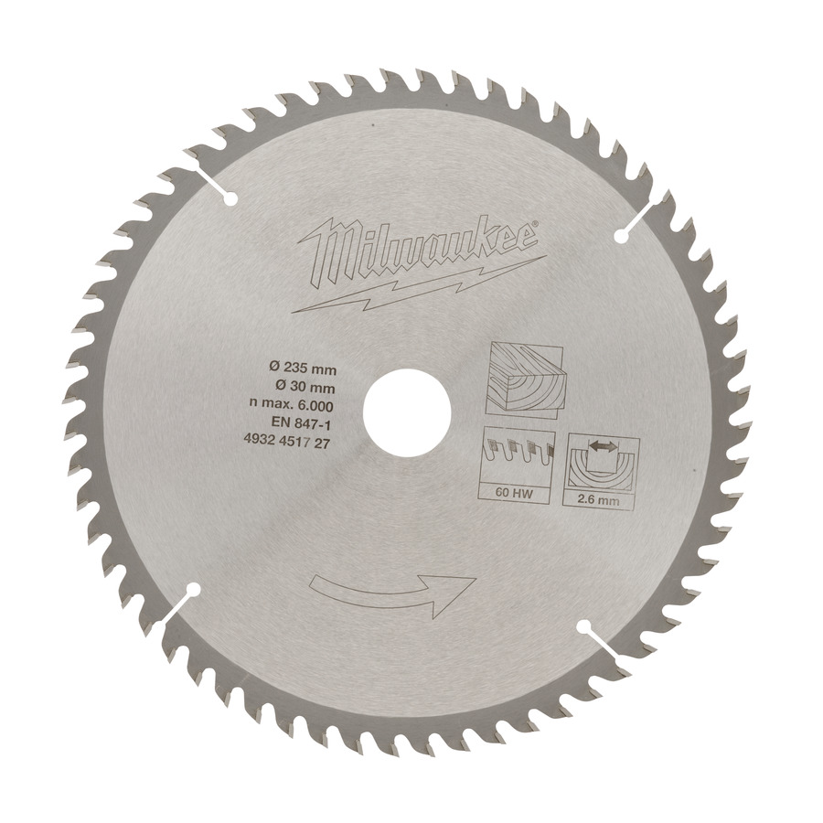 Milwaukee Klinga 235x30mm 60T Trä