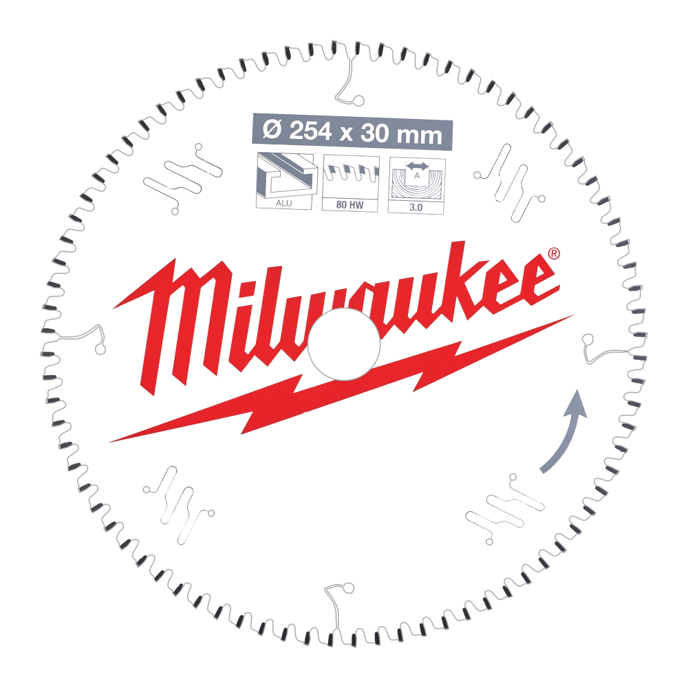 Milwaukee Cirkelsågklinga MS 254x30x3,0mm 80T Aluminium