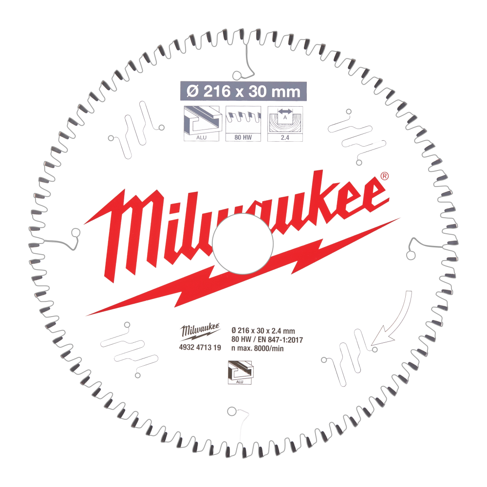 Milwaukee CSB MS Alu Sågklinga 216x2,4x30mm 80T