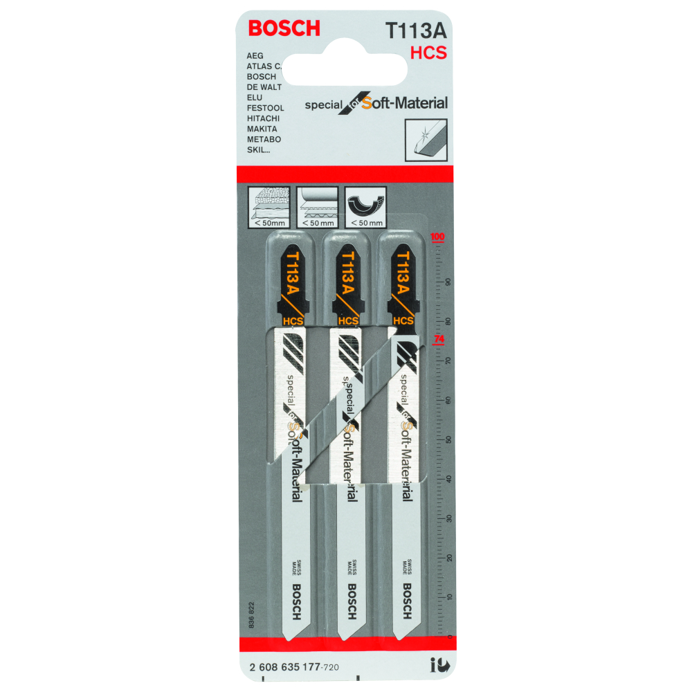 Bosch Special for Soft Material T113A Sticksågblad 100mm 3-pack