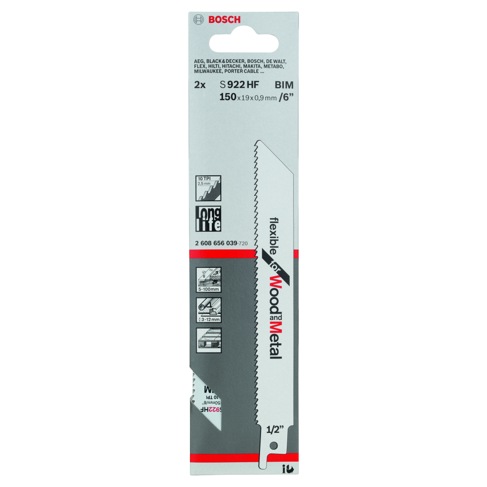 Bosch Flexible for Wood and Metal S922HF Tigersågblad 150mm 2-pack