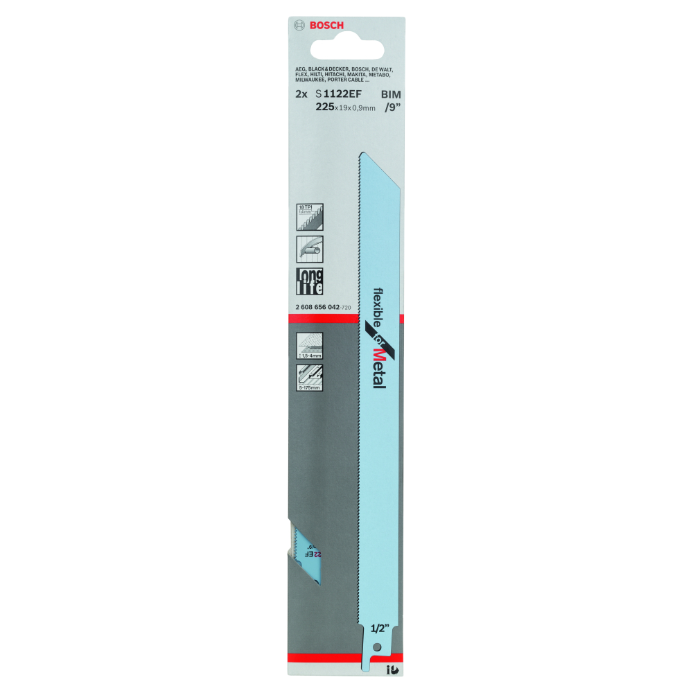 Bosch Flexible for Metal S1122EF Tigersågblad 225mm 2-pack