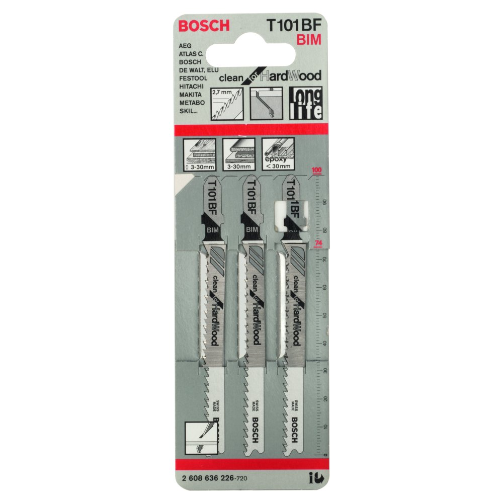 Bosch Clean for Hard Wood T101BF Sticksågblad 100mm 3-pack