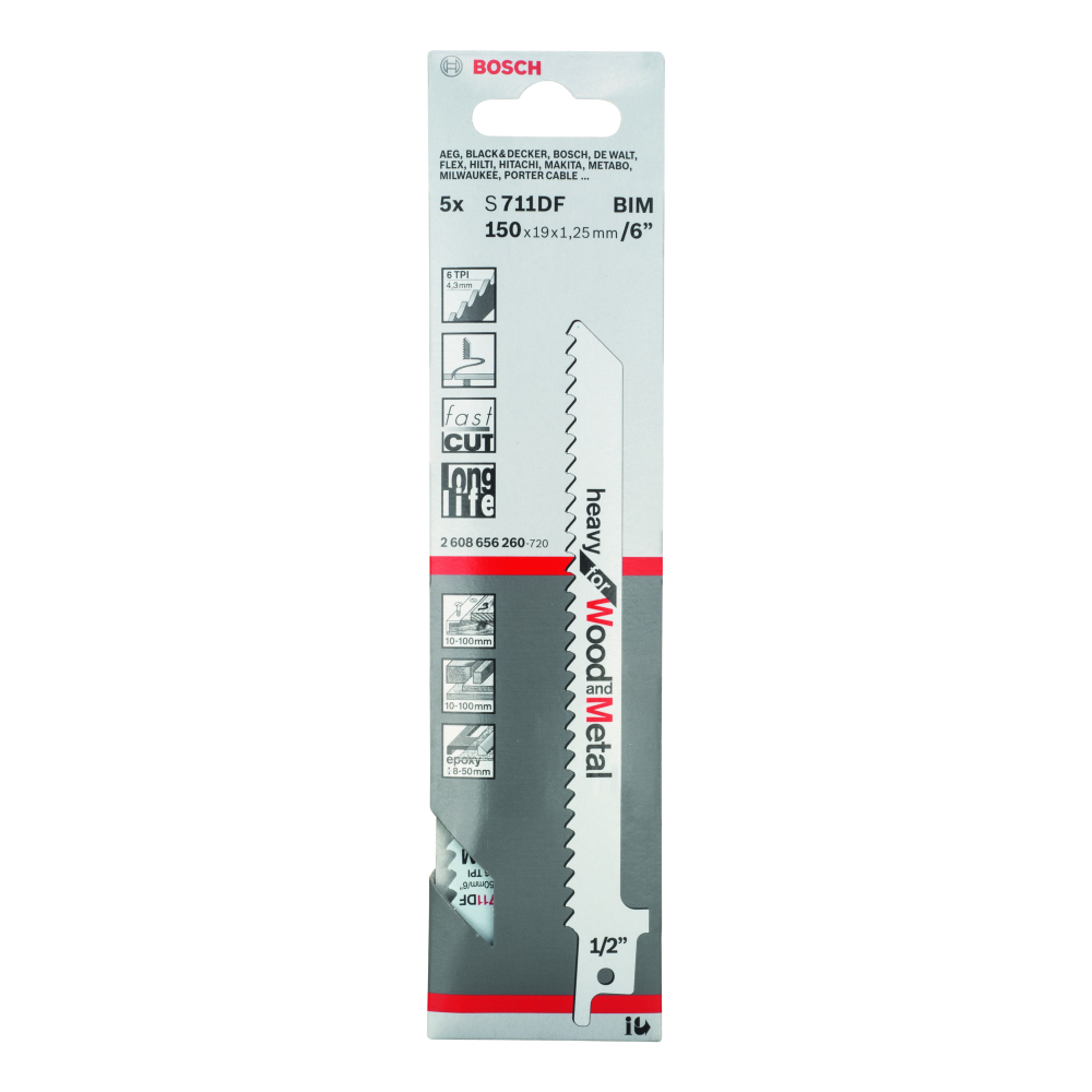 Bosch Heavy for Wood and Metal S711DF Tigersågblad 150mm 5-pack