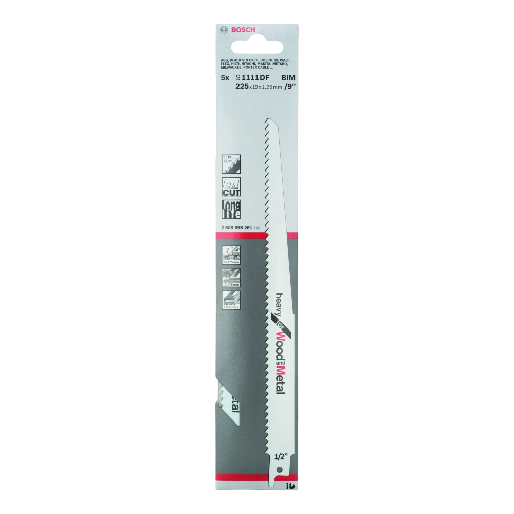 Bosch Heavy for Wood and Metal S1111DF Tigersågblad 225mm 5-pack