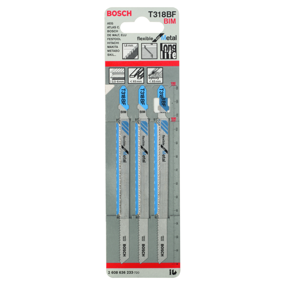 Bosch Flexible for Metal T318BF Sticksågblad 132mm 3-pack