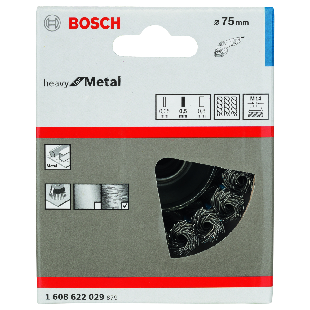 Bosch Heavy for Metal Koppborste M14 75mm Flätad