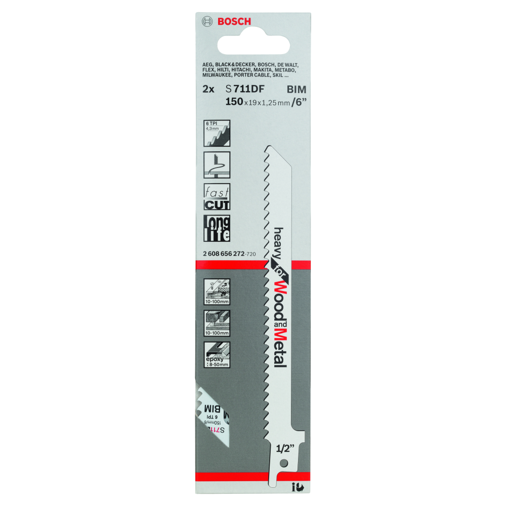 Bosch Heavy for Wood and Metal S711DF Tigersågblad 150mm 2-pack