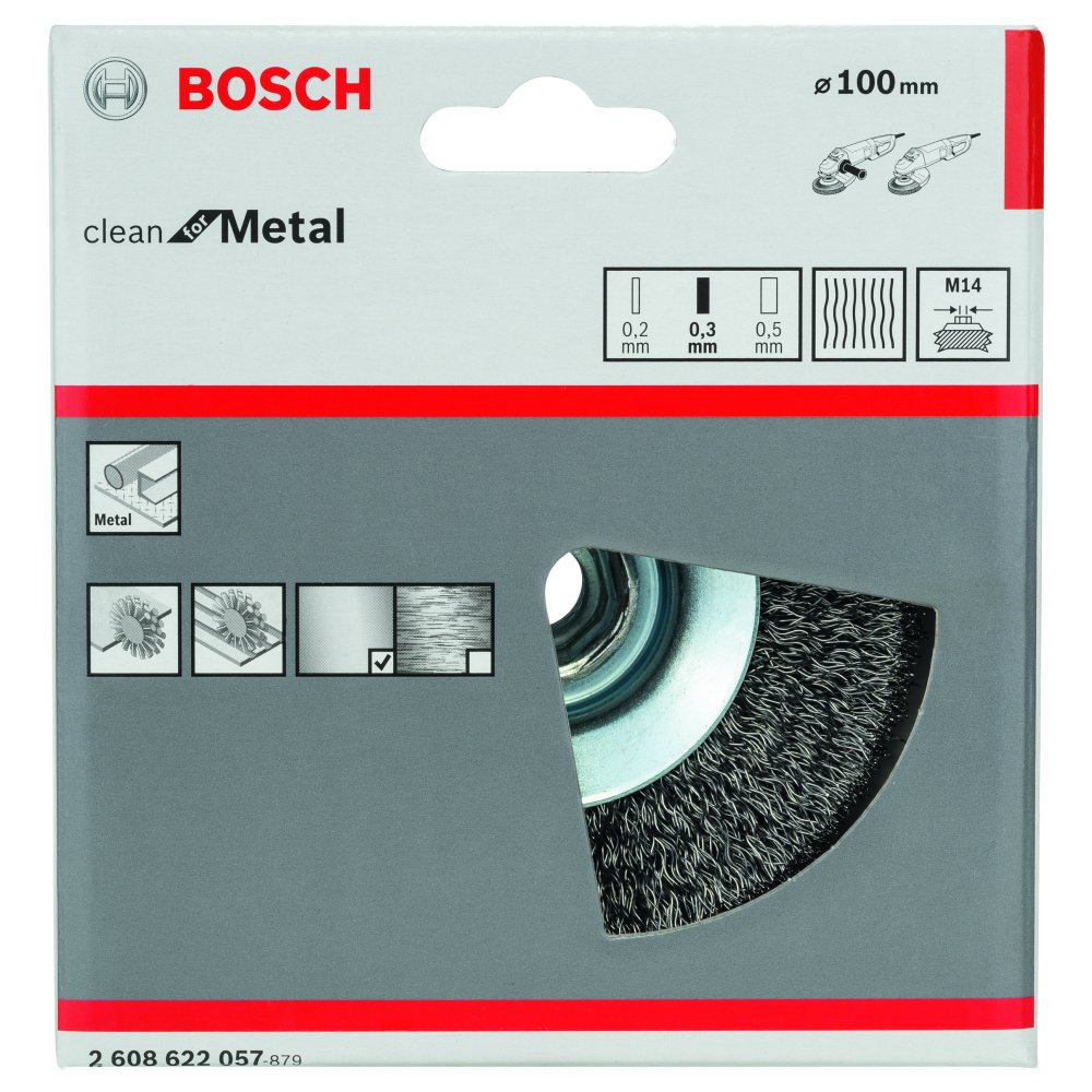 Bosch Clean for Metal Konskivborste HSS Vågformad tråd 0,3mm M14 100mm