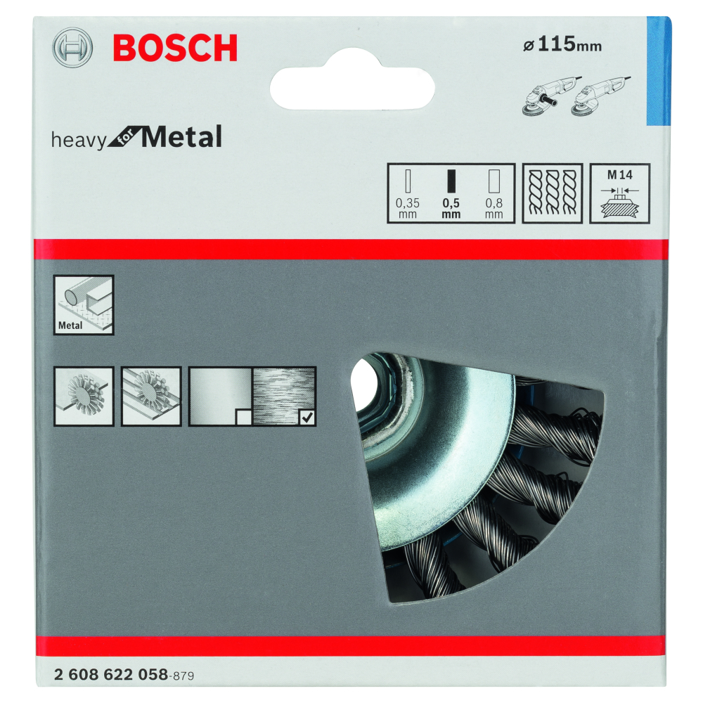 Bosch Heavy for Metal Kamskivborste Virad tråd 0,5mm M14 115mm