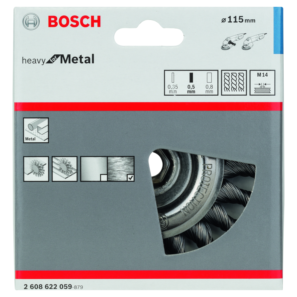 Bosch Heavy for Metal Skivborste Virad tråd 0,5mm M14 115mm