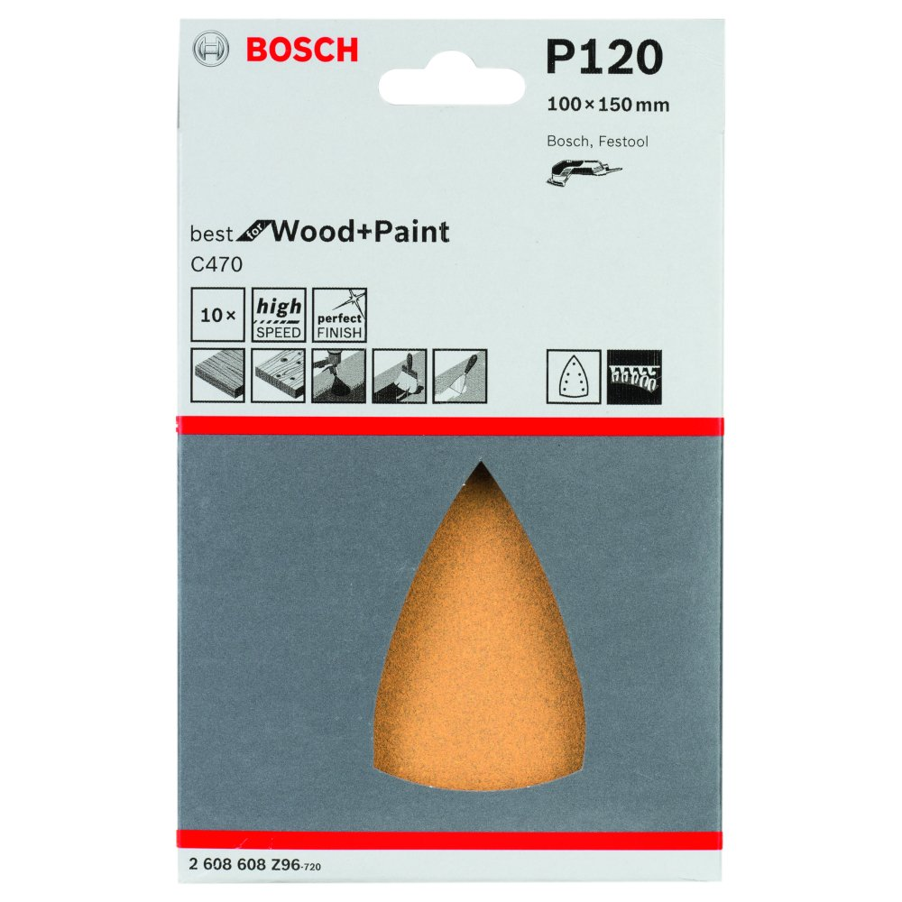 Bosch Best for Wood and Paint C470 Slipark DELTA 100x150mm K120 10-pack