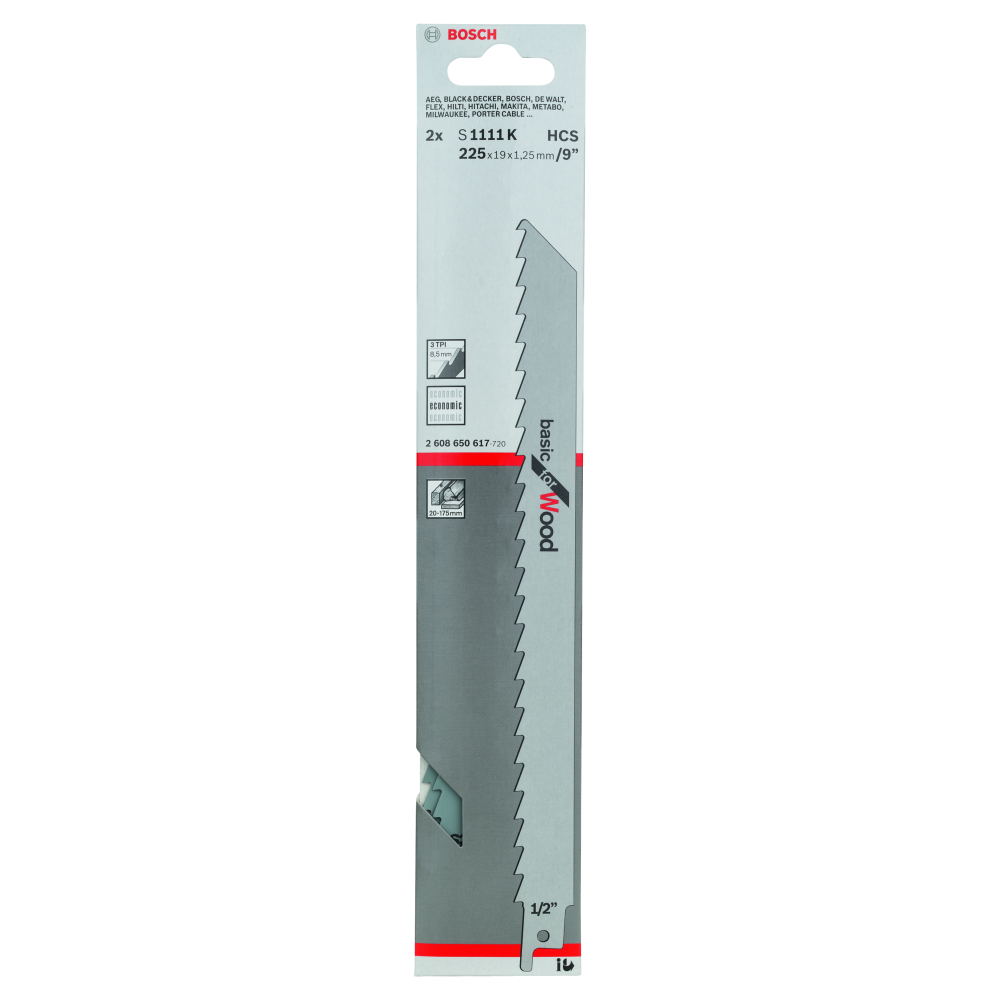 Bosch Basic for Wood S1111K Tigersågblad 225mm 2-pack