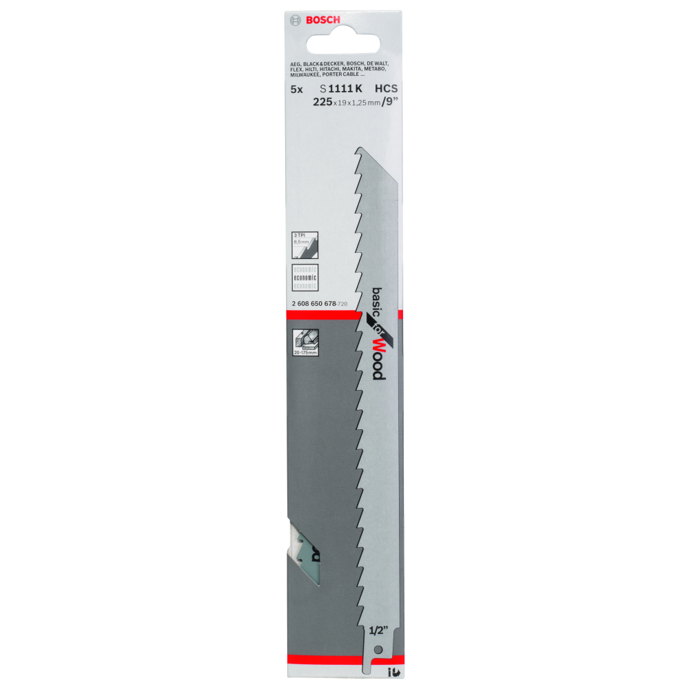 Bosch Basic for Wood S1111K Tigersågblad 225mm 5-pack